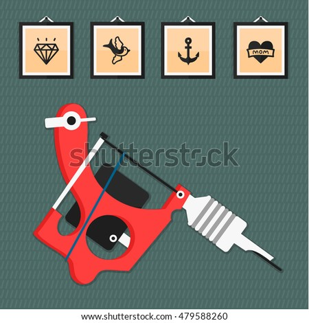 Vector Images, Illustrations and Cliparts: Tattoo machine in flat ...