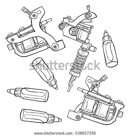 Tattoo Machine. Paints. Isolated vector objects on white background.