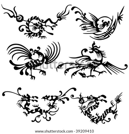 Tattoo of dragons and birds. ancient