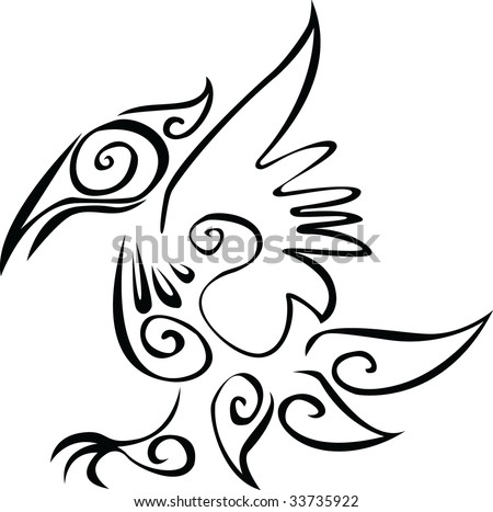 stock vector : Tattoo of fantastic raven
