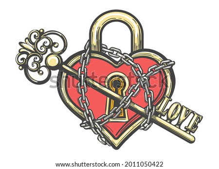 Tattoo of Heart Shaped Lock in Chains with a Key. Love concept tattoo isolated on white. Vector illustration.