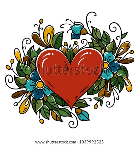 Tattoo red heart decorated ribbon, blue flowers, leaves, curls. Holiday illustration for Valentines Day. Old school tattoo.