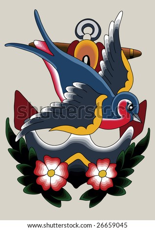 stock vector : Tattoo Robin 07