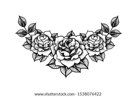 Tattoo Roses flower. Tattoo, mystic symbol. Boho print, poster, t-shirt. textiles. Vector illustration art. Vintage engraving. Vintage style. Traditional art tattoos. Blackwork. Isolated vector Rose