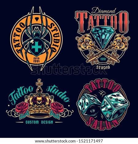 tattoo salon colorful labels