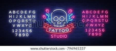 tattoo salon logo vector neon