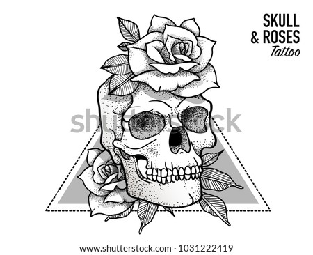 Tattoo Scull & Roses Design Blackwork tattoo flash. Highly detailed vector illustration isolated on white. Tattoo design. New school dotwork, lineart. Print, posters, t-shirts and textile