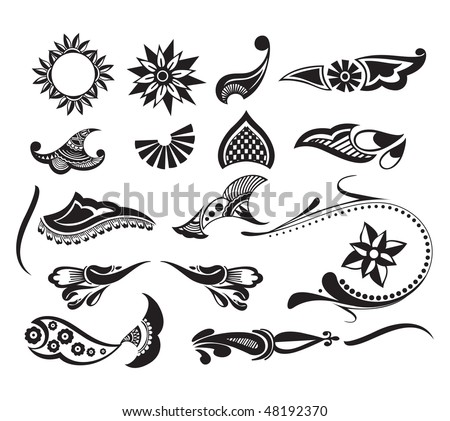 Tattoo set element of your design used, vector illustration