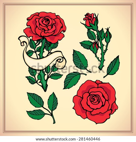 Tattoo set. Graphic vector illustration of roses. Hand drawn artwork. Love concept for wedding invitations, cards, tickets, congratulations, branding, logo, label. Black, red, brown green beige colors