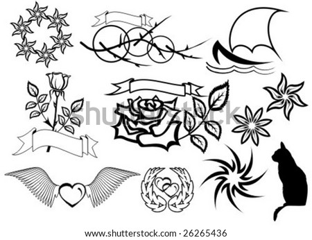 The first tattoo pack in vector. HQ vector design of tattoo ornaments.