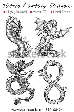 tattoo set with hand drawn