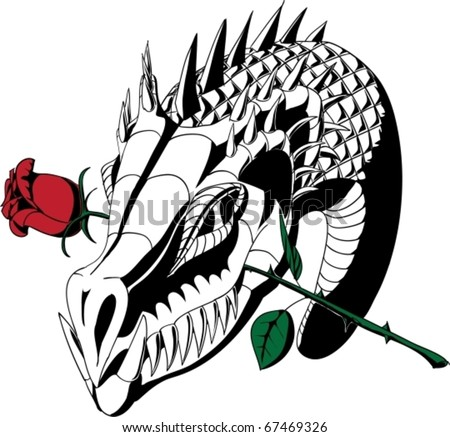 dragon head tattoos. dragon head with rose