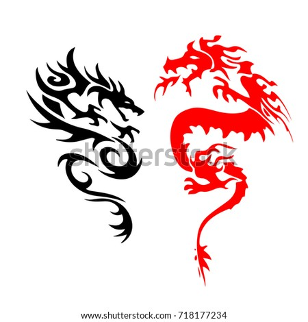 tattoo silhouette two dragon