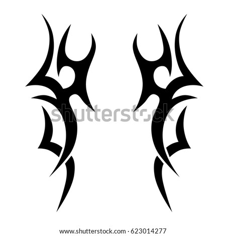 Tattoo sketch tribal vector design. Simple logo. Designer isolated element for decorating the body of women, men and girls arm, leg and other body parts. Abstract illustration.
