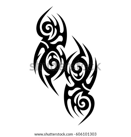 Tattoo sketch tribal vector designs. Simple logo. Designer isolated element for ideas decorating the body of women, men and girls arm, leg and other body parts. Abstract illustration.