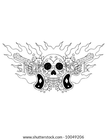 skulls and guns. Tattoos+of+skulls+and+guns