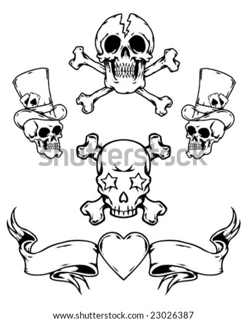 HP iPod Tattoo Banners stock vector : tattoo skulls and banner