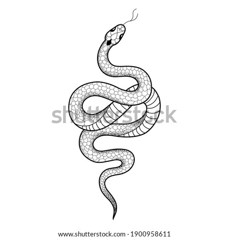 Tattoo snake. Traditional black dot style ink. Isolated vector illustration. Traditional Tattoo Old School Tattooing Style Ink. Snake silhouette illustration. Black serpent.