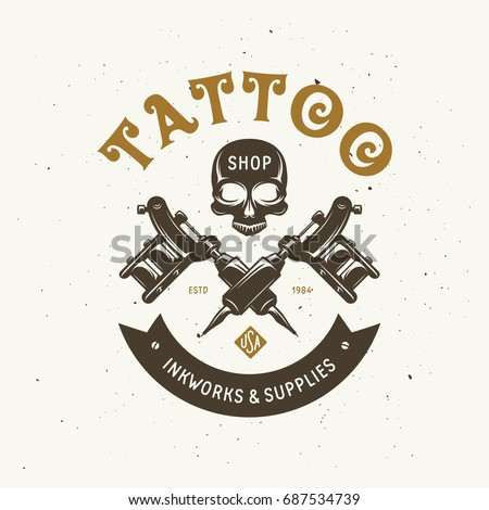 Tattoo studio emblem. Human skull outline drawing. Tattoo shop advertising. Vector vintage illustration.