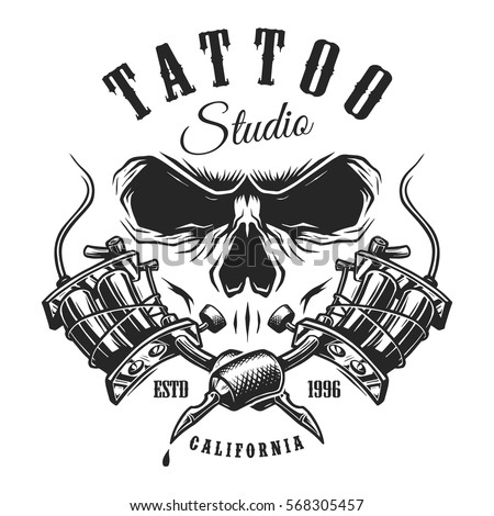 Tattoo studio emblem with tattoo machines and skull. Monochrome line work. Isolated on white background. layered