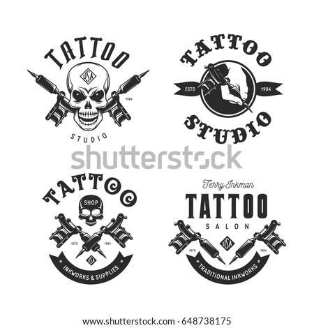 Tattoo studio emblems set. Hand holding tattoo machine. Human skulls outline drawing. Tattoo shop advertising. Vector vintage illustration.