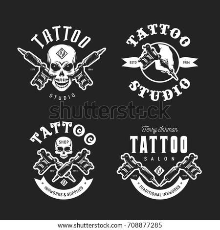 tattoo studio emblems set hand