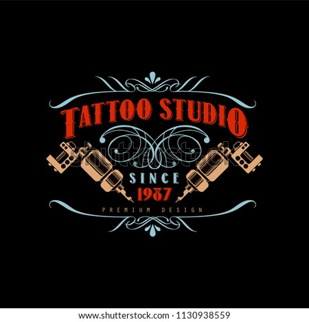 Tattoo studio logo design premium estd 1987, retro styled emblem with tattoo machines vector Illustration