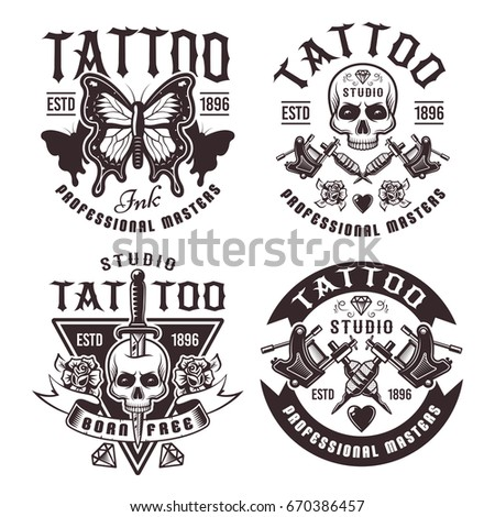 Tattoo studio set of four vector vintage emblems, labels, badges or logos in monochrome style isolated on white background