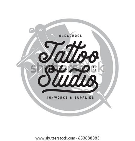 tattoo studio typography emblem