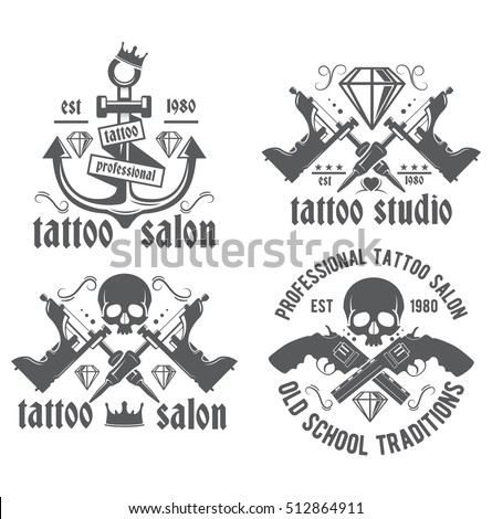 Tattoo studio vector logo on a white background. Illustration tattoo parlor. Old school, workshop professionals tattoo, vintage label.