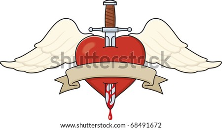 Tattoo-style illustration of a Winged Heart stabbed by a dagger. Also features a banner ready for your text.