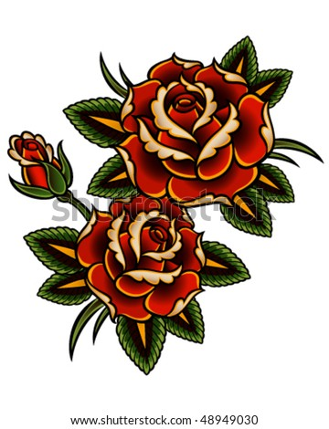 tattoo style roses