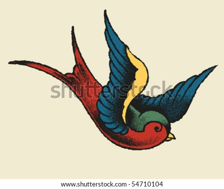stock vector : Tattoo Style Swallow