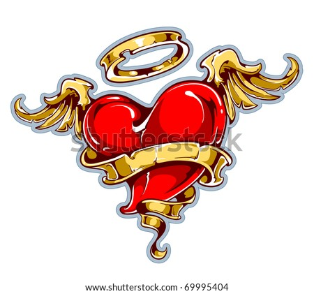 Tattoo styled heart with wings halo and ribbon for your text layered