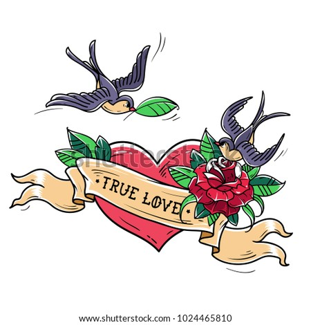 Tattoo Swallows fly over red heart and rose. True Love concept. Symbol of mutual love, happiness, hope. Romantic illustration. Old school style.