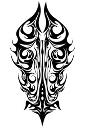 tattoo tribal abstract sleeve, black arm shoulder tattoo fantasy pattern vector, sketch art design isolated on white background