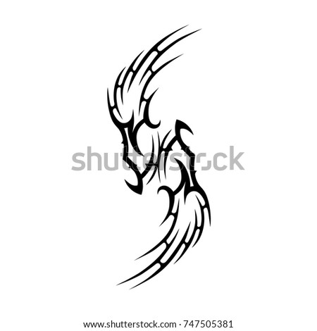 TATTOO TRIBAL DESIGNS. Sketched simple isolated vector. Tattoo design for girl, woman and man. Abstract  tribal tattoo pattern.