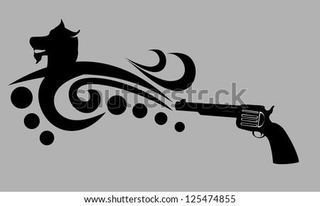 tattoo tribal dog and gun vector art