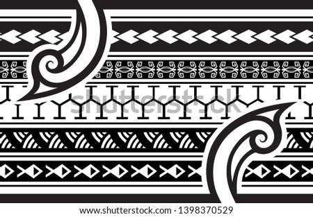 db4a75d8c2edc Tattoo tribal maori pattern border, samoan aboriginal tribal art pattern  bracelet, polynesian abstract samoa