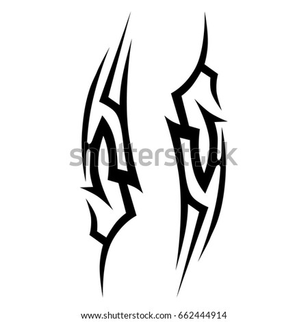 Tattoo tribal vector design. Simple logo. Individual designer isolated element for decorating the body of women, men and girls arm, leg and other body parts. Abstract illustration.