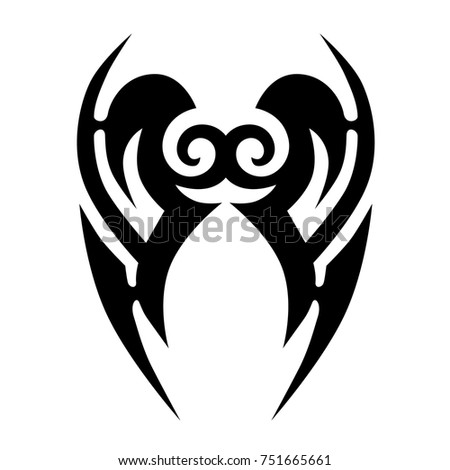 Tattoo tribal vector design. Simple logo. Individual designer isolated element for decorating the body of women, men and girls arms, legs and other body parts. Abstract illustration.
