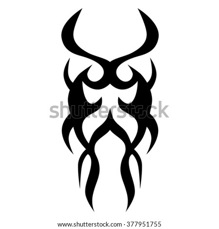Tattoo tribal vector design sketch. Single sleeve art pattern arm. Simple logo. Designer isolated abstract element for arm, leg , shoulder men and women on white background.
