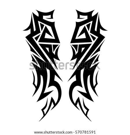 Tattoo tribal vector design sketch. Single sleeve pattern arm. Simple logo. Designer simple element for arm, leg , shoulder men and women. Abstract  illustration.