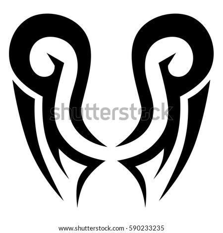 Tattoo tribal vector designs sketch. Simple logo. Designer isolated element for ideas decorating the body of women, men and girls arm, leg and other body parts. Abstract illustration.