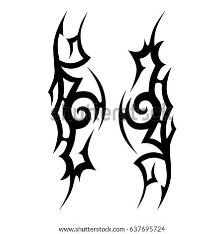 Tattoo tribal vector designs. Tribal tattoos.  Art tribal tattoo. Isolated vector sketch of a tattoo. Idea for design.