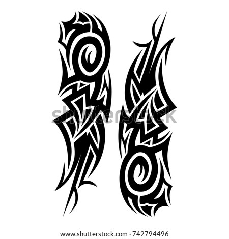 TATTOO TRIBAL VECTOR DESIGNS. Vector illustration.Sketched simple isolated vector. Tattoo design for girl, woman and man. Abstract  pattern.