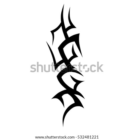 Tattoo tribal vector. Sketched simple isolated vector. Tattoo design for girl, woman and man. Abstract tribal tattoo pattern.