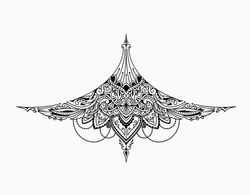 Tattoo under chest girl vintage design vector illustration