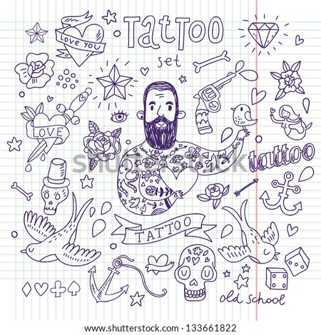 Tattoo vector set Cartoon tattoo elements in funny style anchor dagger skull flower star heart dices bone diamond scull pistol and cool bearded man Doodle in exercise book style