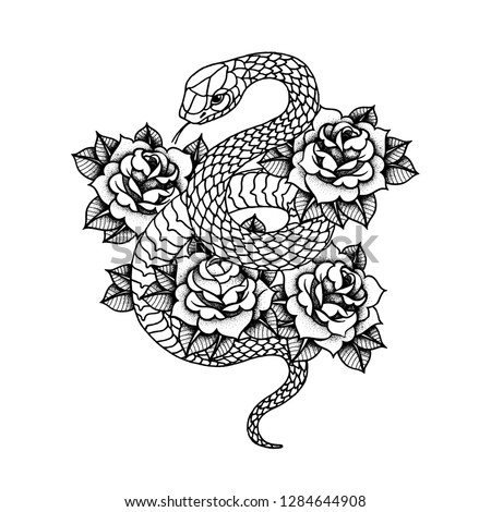 Tattoo with rose and snake. Traditional black dot style ink. Roses Isolated vector illustration. Traditional Tattoo Old School Tattooing Style Ink. Snake silhouette illustration. Black serpent.